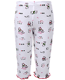 Babyhug Leggings Teddy Bear Print - White