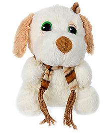 Tickles Mufler Dog Soft Toy - White