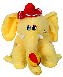 Tickles Elephant Soft Toy With Ball And Hat - Yellow