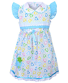 Babyhug Flutter Sleeves Frock - Little Hearts Print