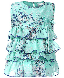 Babyhug Sleeveless Layered Tunic Top Floral Print - Green