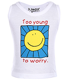 Tantra Sleeveless Vest White - Too Young to Worry Print