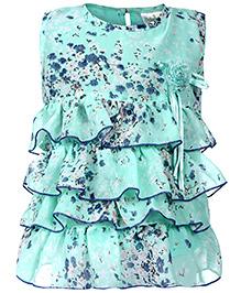 Babyhug Sleeveless Frock Green - Floral Print