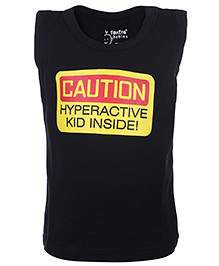 Tantra Sleeveless Vest Black - Caution Print - 3 To 6 Months
