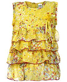 Babyhug Sleeveless Layered Tunic Top Floral Print - Yellow