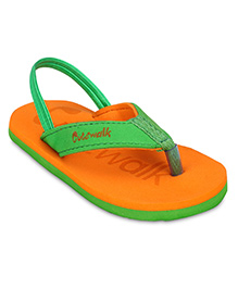 Cute Walk Slipper With Back Strap - Orange And Green