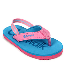 Cute Walk Slippers With Back Strap - Blue And Pink
