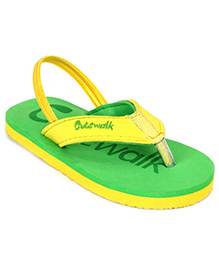 Cute Walk Slipper With Back Strap - Green And Yellow
