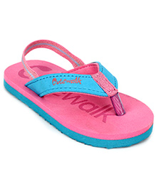 Cute Walk Flip Flops With Back Strap - Pink And Blue