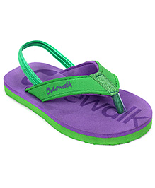 Cute Walk Slipper With Back Strap - Purple And Green