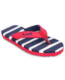 Cute Walk Slippers Stripes - Blue And Red