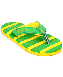 Cute Walk Slippers Stripes - Green And Lemon