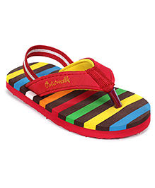 Cute Walk Flip Flops With Back Strap - Red And Multicolour Stripes