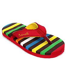 Cute Walk Flip Flops - Red And Multicolour Stripes