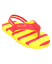 Cute Walk Flip Flops With Back Strap Striped - Yellow And Red