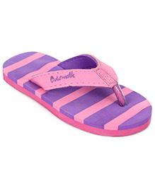Cute Walk Flip Flops Stripes - Pink And Purple