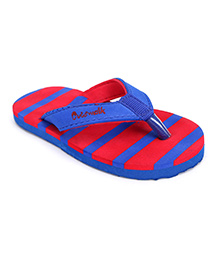 Cute Walk Flip Flops With Back Strap Striped - Blue And Red