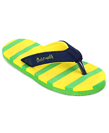 Cute Walk Flip Flops Stripes - Lemon And Green