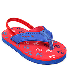 Cute Walk Flip Flops With Back Strap - Red And Blue