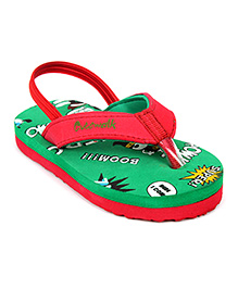 Cute Walk Flip Flops With Back Strap - Green And Red