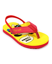 Cute Walk Flip Flops With Back Strap - Red And Yellow