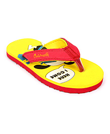 Cute Walk Flip Flops - Red And Yellow