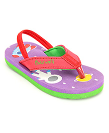 Cute Walk Flip Flops With Back Strap - Purple And Red