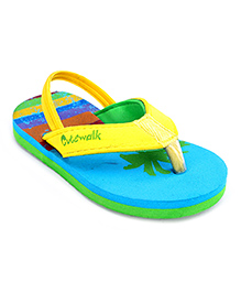 Cute Walk Flip Flops With Back Strap - Blue And Yellow