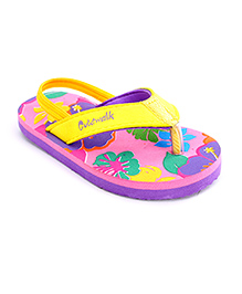 Cute Walk Flip Flops With Back Strap - Pink And Yellow