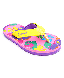 Cute Walk Flip Flops - Pink And Yellow