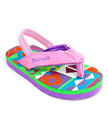 Cute Walk Flip Flops With Back Strap - Pink And Green