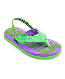Cute Walk Flip Flops With Back Strap - Green And Purple