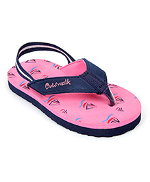 Cute Walk Flip Flops With Back Strap - Pink And Navy Blue