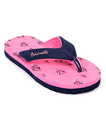 Cute Walk Flip Flops - Pink And Navy Blue