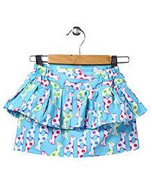 Sky Blue Animated Print Tiered Skirt