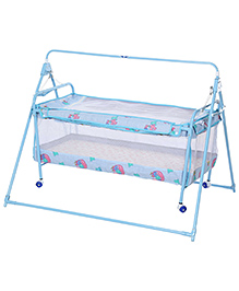 New Natraj Sleep Well Baby Cradle Blue - Teddy Print