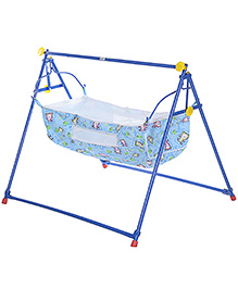 Mouthertouch Indo Cradle Blue - Bear And Strawberry Print