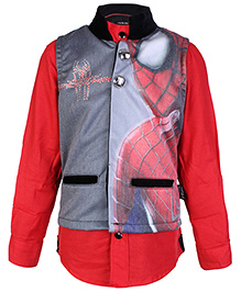 Finger Chips Full Sleeves Shirt With Waistcoat - Spiderman Print - 1 Year