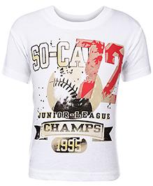 Babyhug Half Sleeve T-Shirt White - Champs Print