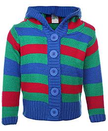 Babyhug Front Open Sweater Multicolor - Stripe Pattern
