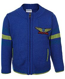 Babyhug Zippered Sweater - Army Aviator Patch
