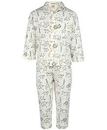 Little Full Sleeves Night Suit - Animal Print