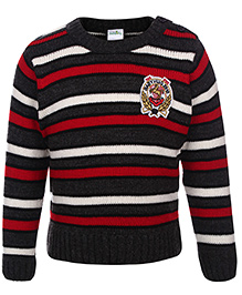 Babyhug Striped Full Sleeves Sweater Brand Patch - Black And Grey