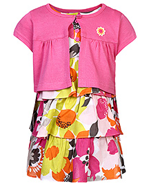 ToffyHouse Cap Sleeve Frock With Shrug Pink - Floral Print