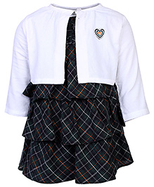 ToffyHouse Frock With Shrug White And Green - Checks Print