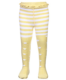 Mustang Footed Tights Stockings Multi Print - Lemon