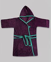 awerganic Hooded Bath Robe Blackcurrant Green - Tie Up Belt