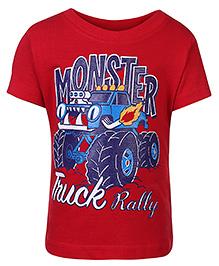Babyhug Half Sleeves T-Shirt Red - Truck Print