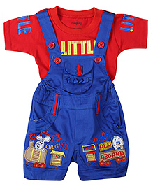 Babyhug Dungaree With Half Sleeves T-Shirt - Red And Blue