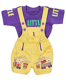 Babyhug Dungaree With Half Sleeves T-Shirt - Purple And Yellow